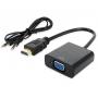 Преобразователь цифрового сигнала HDMI в аналоговый VGA с аудиовыходом 3.5 jack