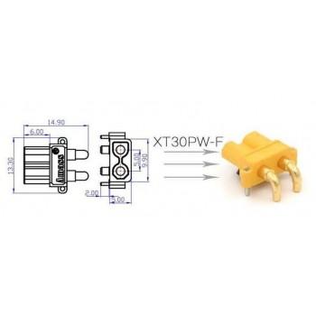 Разъем питания  XT30 PW-F, 2pin гнездо