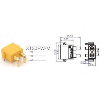 Разъем питания  XT30 PW-M, 2pin штекер